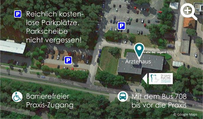 Zahnarzt Ludwigsfelde: Viele kostenlose Parkplätze am Ärztehaus - Parkscheibe nicht vergessen!